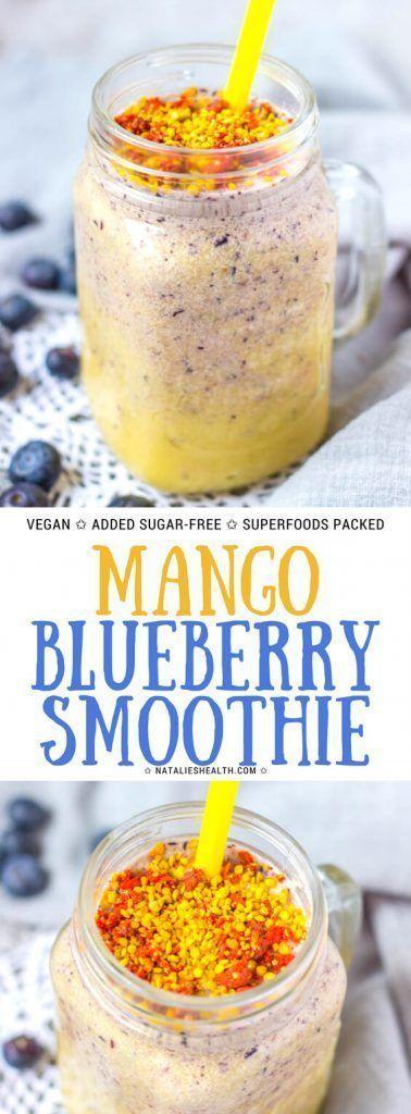 Erfrischender Mango Blueberry Smoothie ist das perfekte Frühstück für einen anstrengenden Morgen! …