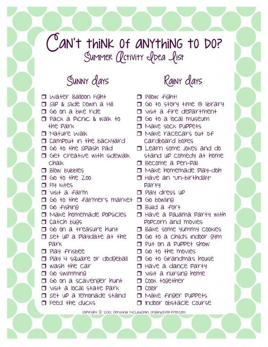 Summer Activity Idea List - indoor and outdoor activities. I realize this is pro