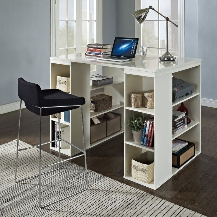 Belham Living Sullivan Counter Height Desk - Vanilla - Make a workspace for all kinds of tasks with the Sullivan Counter Height Table - Vanilla. Plenty of cubbies and shelves on both sides of this counter-...