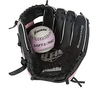 Start them out young // Franklin Sports Youth Fielding Baseball Glove - Black/Pink // Scheels