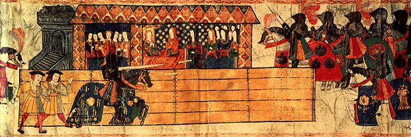 texts on jousting | Catherine of Aragon watching Henry VIII joust in honour of the birth ...