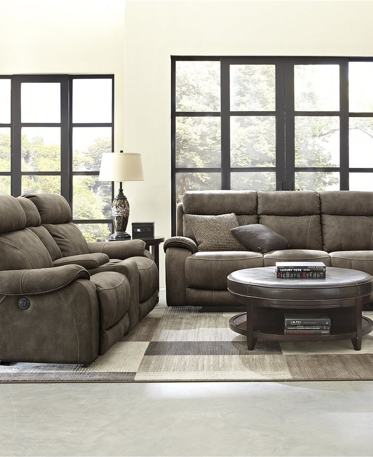 Kieran Fabric Living Room Sofa Collection Dual Power Recliner Furniture