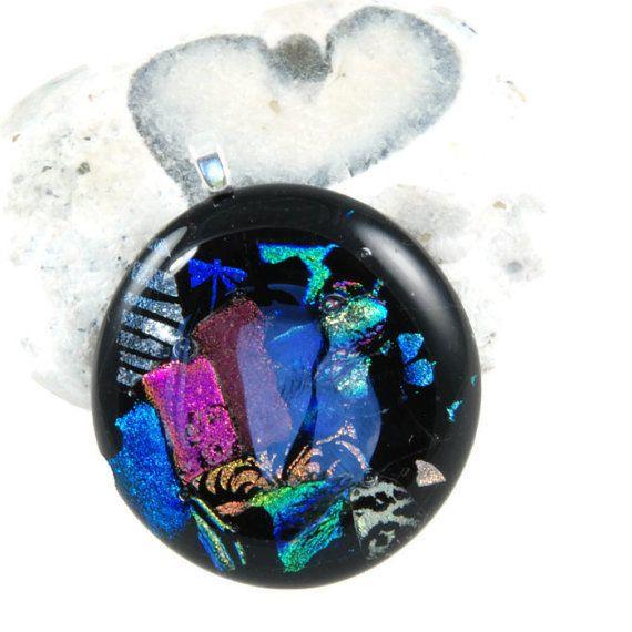 round glass pendant dichroic glass black