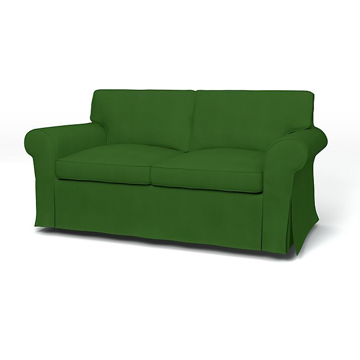 Ektorp, Sofa Covers, 2 Seater, Regular Fit using the fabric Panama Cotton Grass Green