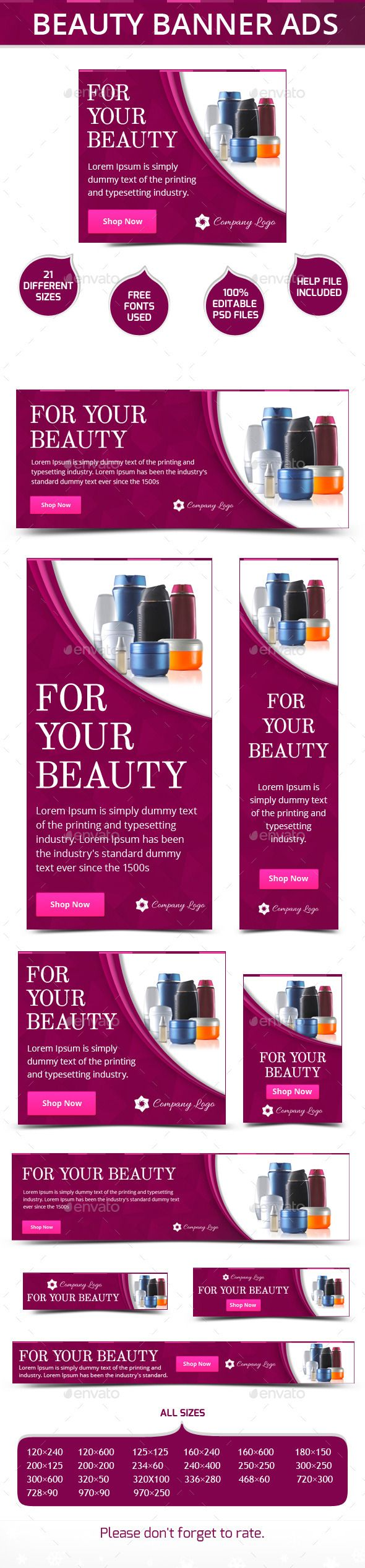 Beauty Banner Ads Template PSD   Buy and Download: http://graphicriver.net/item/beauty-banner-ads/9932525?ref=ksioks
