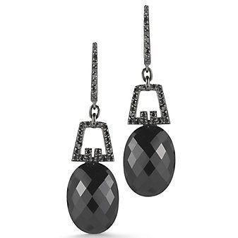 Ivanka Trum 18k White Gold Black Diamond and Black Onyx Drop Earrings from Borsheims
