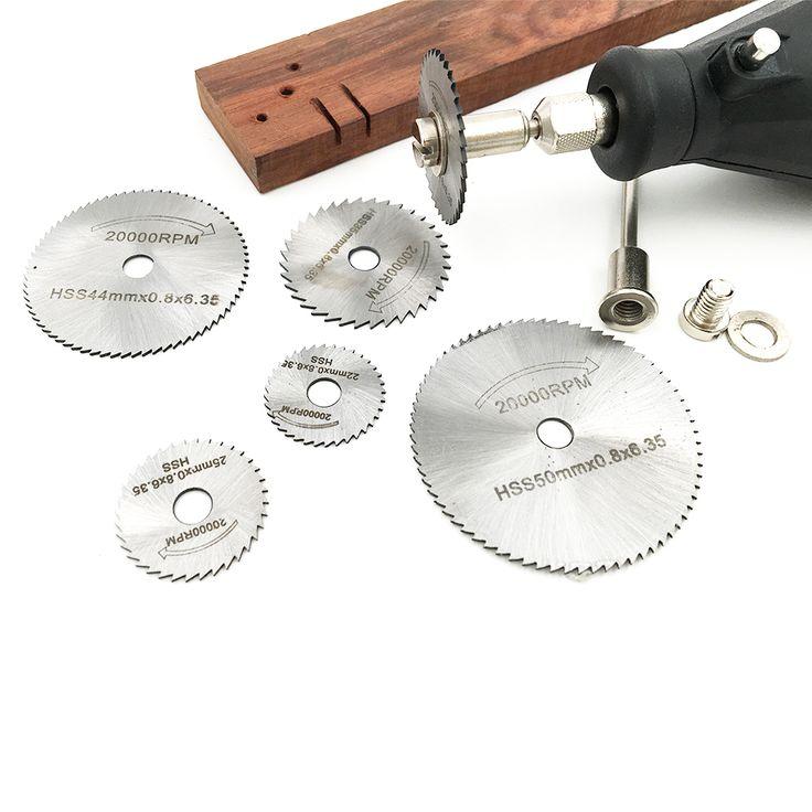 6 pcs Dremel Outil Rotatif Électrique Broyage Accessoires HSS Rotary Lames De Coupe Disques avec Mandrin Cut-off Scie Circulaire outils