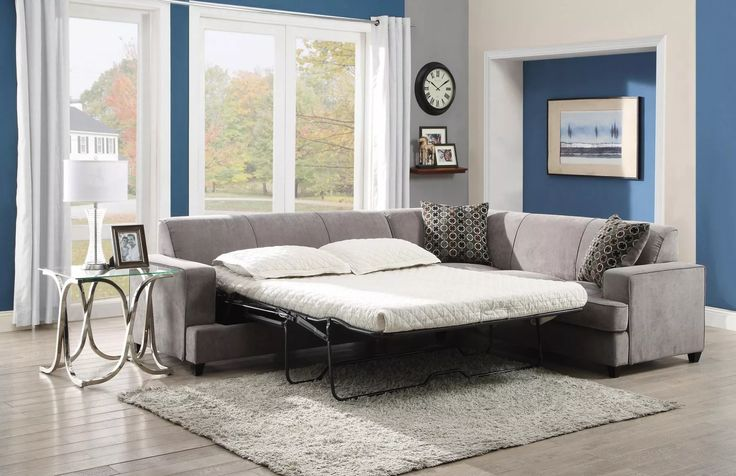 Coaster 500727 Tess Grey Sectional Sofa with Sleeper