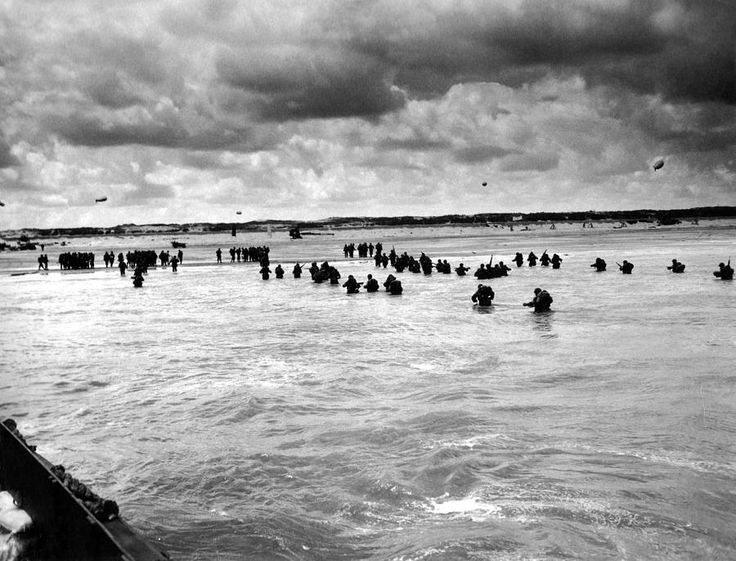 U.S. troops wading to Utah Beach during the D-Day invasion of Normandy on June 6-8, 1944. World War II