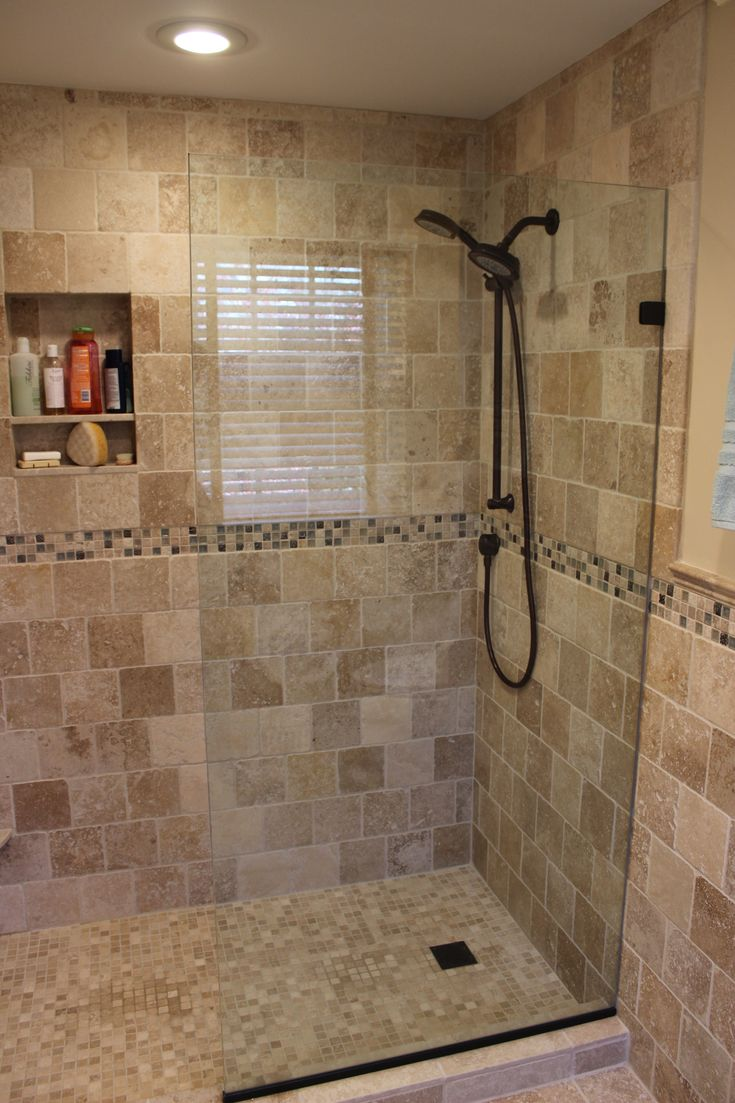 Travertine And Marble Tile Bathroom Ideas   Oil Rubbed Bronze Fixtures