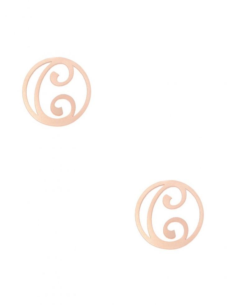 monogram script earrings