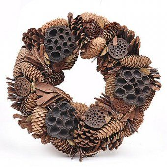 This Delightful Rustic Artificial Festive Christmas Wreath With Pine