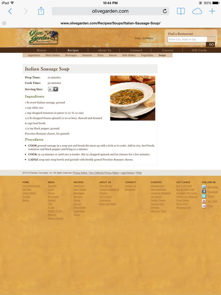 Olive Garden Italian sausage soup Italian sausage soup