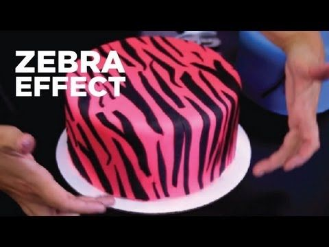 Two methods for creating a zebra stripe effect cake decoration.