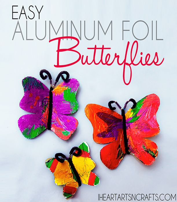Easy Aluminum Foil Butterfly Craft - I want the kids to make these so I can hang them in my room :)