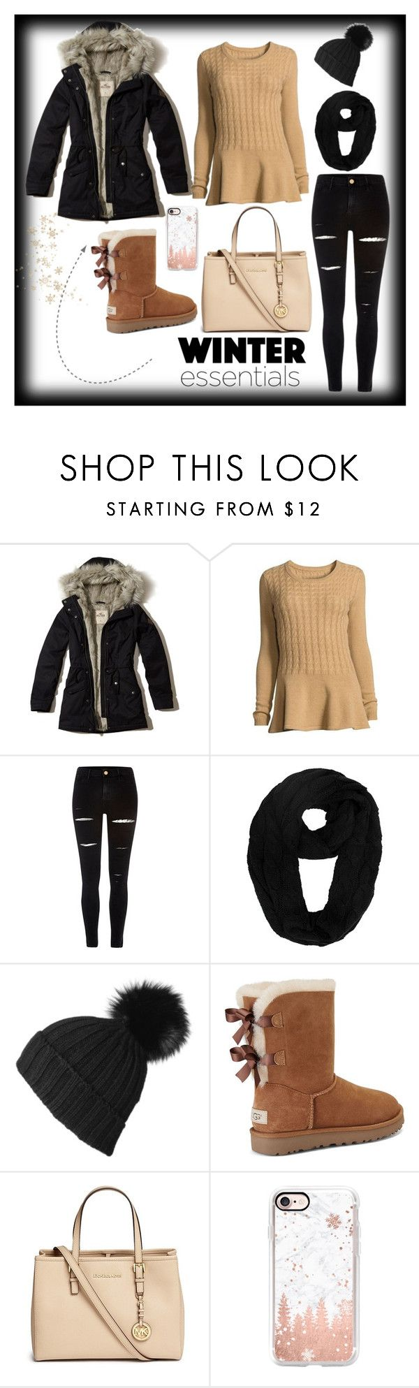 """#winter"" by ajlao ❤ liked on Polyvore featuring Hollister Co., Neiman Marcus, River Island, Black, UGG, Michael Kors and Casetify"