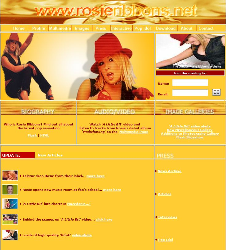 Popstar website created for Telstar Music Group by Genieseye.