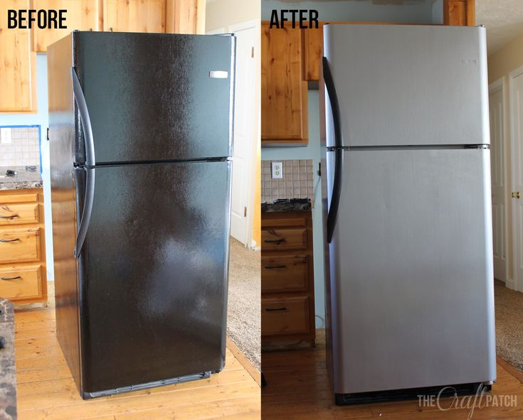 If you've got mismatched appliances, you've got to check this out... how to PAINT your fridge to look like stainless steel!
