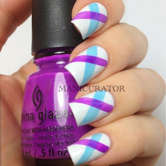 Started with 2 coats of OPI My Boyfriend Scales Walls and then used striping tape to make a neat stripe of China Glaze Isle See You Later.  Added China Glaze Are You Jelly?, again using striping tape.