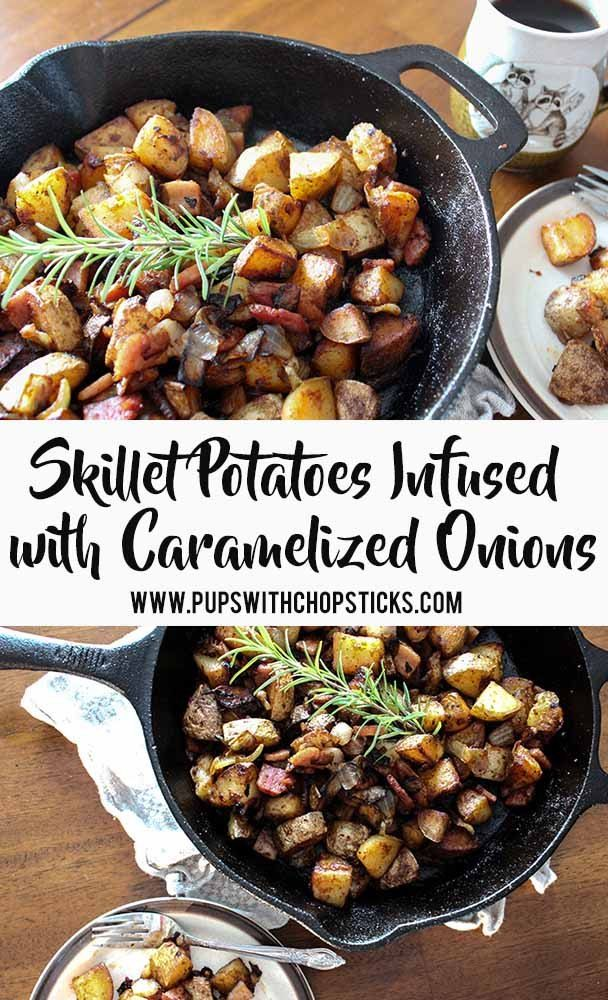 Skillet Potatoes Infused with Caramelized Onions