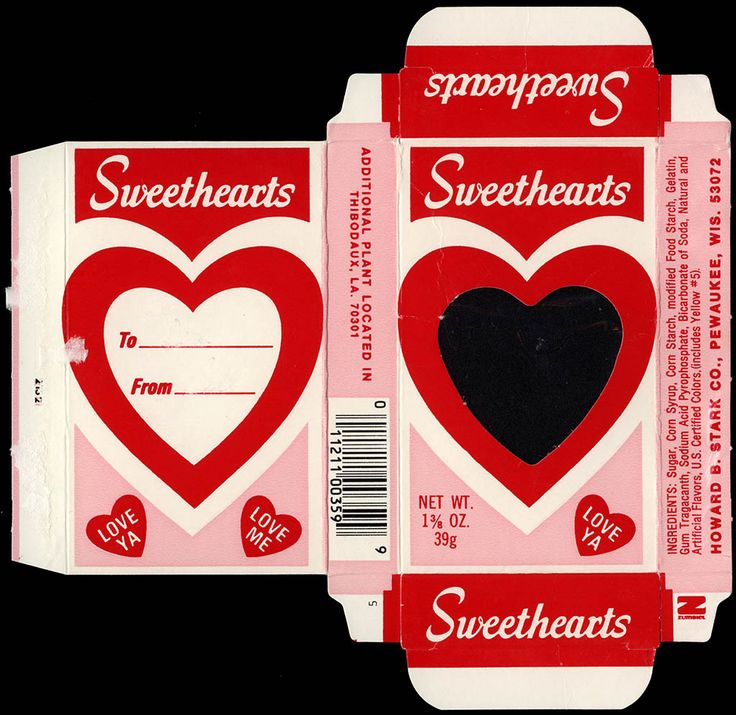 "Sweethearts Conversation Hearts candies were originally made by Wisconsin's Stark Candy Company, which was founded in 1937. It was acquired in 1988 by Necco. The acquisition of Stark's Sweethearts, combined with Necco's existing Sweet Talk line of candies made Necco the leading manufacturer of candy ""conversation"" hearts."