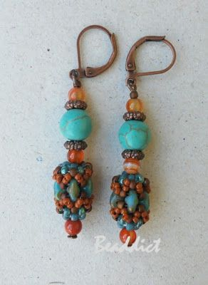"""""""Sanaz"""" earrings. Pattern by Un- Roen Manarata. Beaded by Beaddict.  Seed beads, karneol and turquonite stone beads, copper wire, bead weaving."""