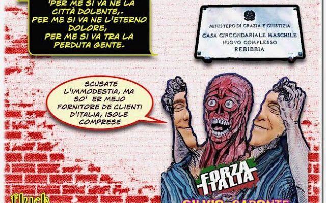 Ma c'é davvero da vantarsi di essere un buttadentro di Rebibbia? Magistrati, Carabinieri e poliziotti non se ne vantano perché é il loro dovere, ma Silvio non può farsene vanto per aver dato l'esempio su come si può essere condannato e vivere felice fuori san Vitt #satira #umorismo #vignette #cartoon
