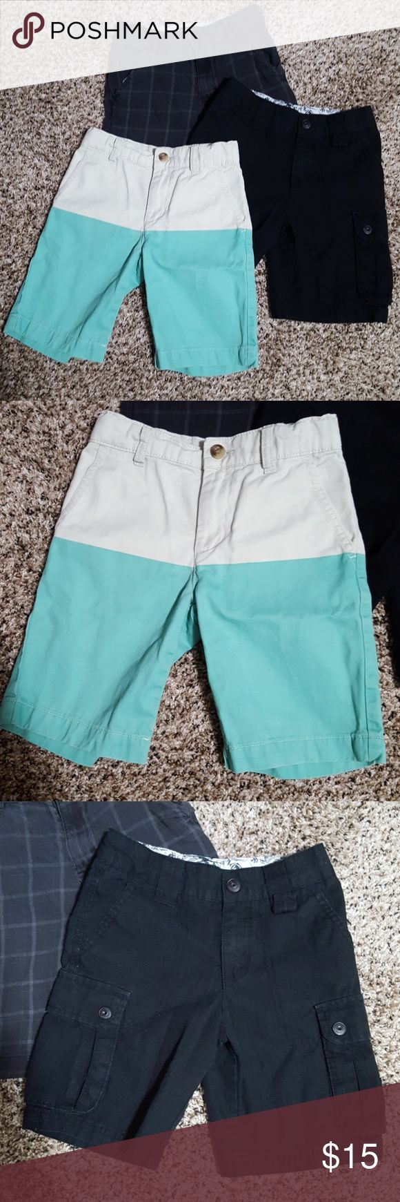 Boy's shorts size 6 Three pair of boy shorts solid black are Shaun White,  tan and mint green are Children's Place,  plaid pair is Tony Hawk .  all have adjustable waist zipper button fly in excellent condition.  smoke-free home Children's Place Bottoms Shorts