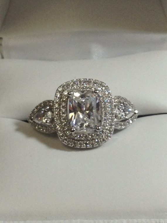 Halo Engagement Ring Cushion cut about 1 5 carat cubic zirconia Engagement R