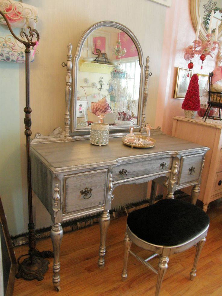 Silver distressed vanity on Etsy, I want to try this with my daughter's vanity soon.
