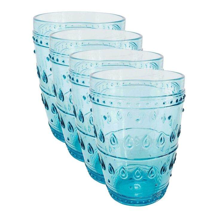 Fez Turquoise 14oz Highball Glassware Set of 4 by Euro Ceramica #EuroCeramica