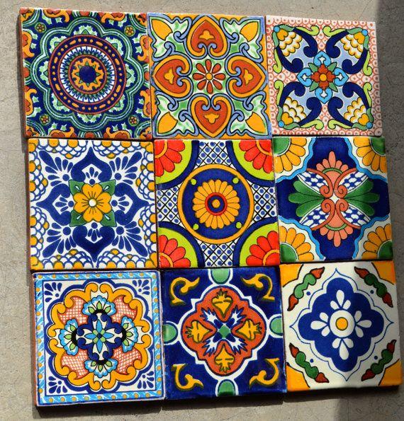 18 piastrelle Talavera  dipinto a mano 4 X 4 misto di MexicanTiles