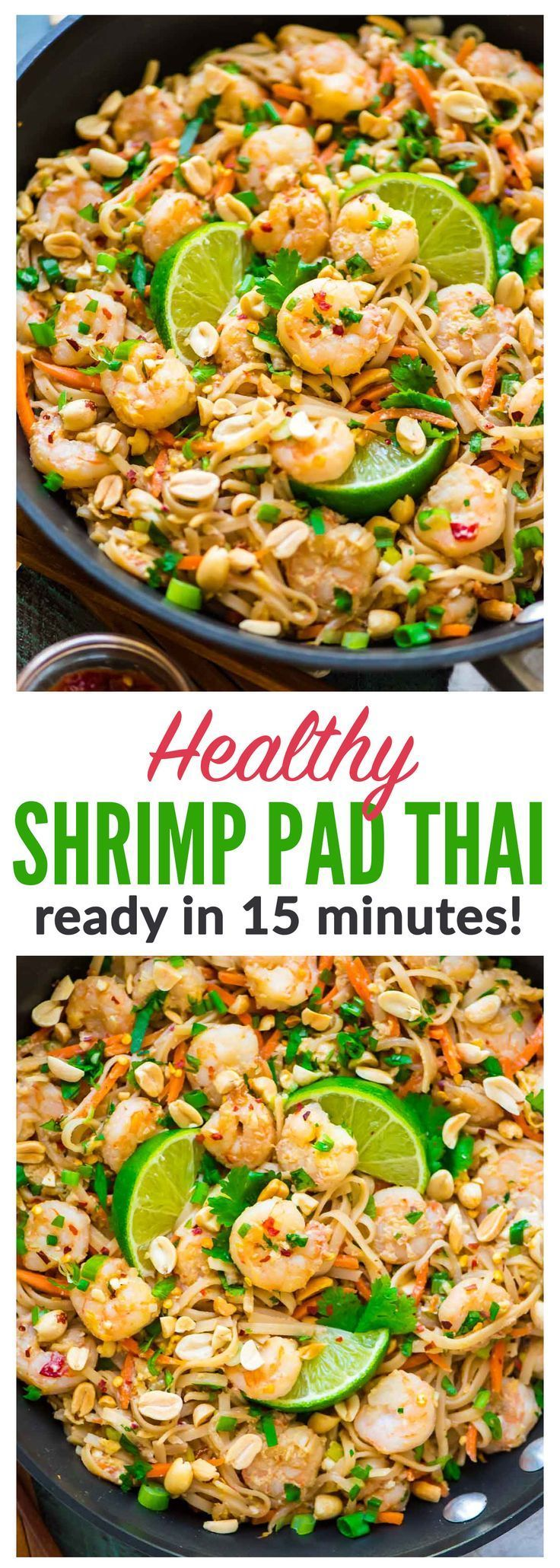 Healthy Shrimp Pad Thai. EASY and SO delicious! Ready in 15 minutes. We couldn't stop eating it! Recipe at http://wellplated.com   /wellplated/ {gluten free}