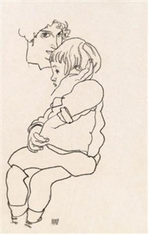 Egon Schiele, Gerti (sorella dell'Artista) con il suo bambino Anton, 1918.