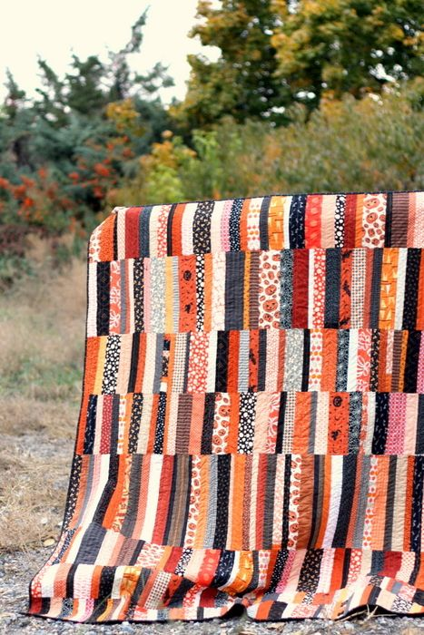 Halloween quilt ~ scrap buster project for holiday prints | from Diary of a Quilter