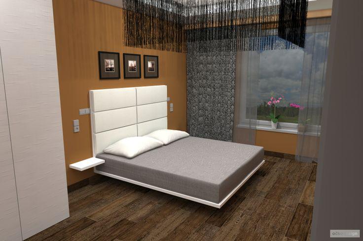 ...postel je vzdušná a opticky se jak kdyby vznáší. Šíře postele vychází z omezení, které bylo dáno roztečí mezi již zabudovanými nočními lampičkami ve zdi. Čelo postele je polstrováno bílou kůží a je záměrně o něco málo vyšší než je obvyklé. Od podlahy měří 1420 mm. Tím se stává výrazným prvkem ložnice.  Petr Molek interiérový design www.ockodesign.cz