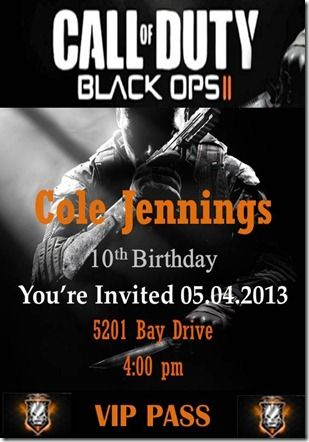 Call Of Duty Black Ops II Party Invites VIP Pass