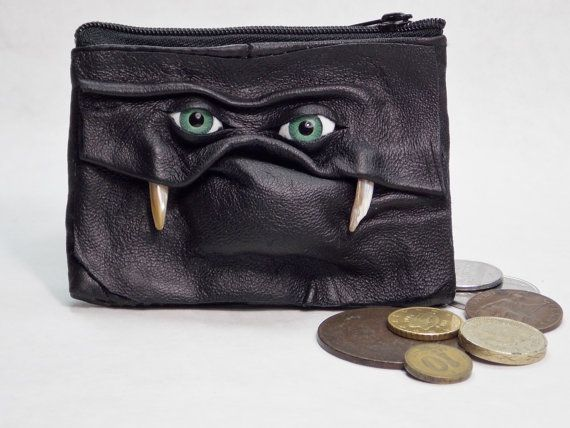 Change Purse Coin Purse With Face Eye Leather Zippered Pouch Black Witch Pagan Goth LARP