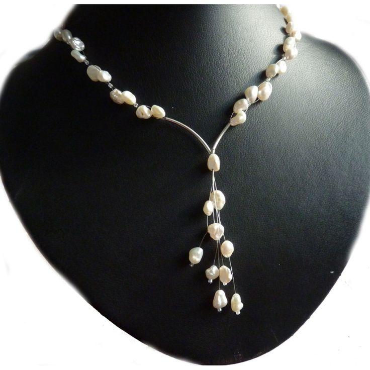 Y Collier mit Keshi perlen Brautschmuck design