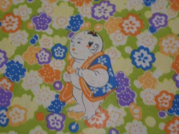 "Cotton Yukata ""Plump little boys"" http://www.kesarankimonofabric.com/"