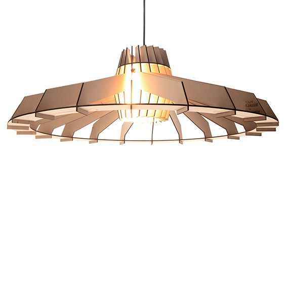 This pendant lamp is named after Nikola Tesla and is made out of MDF.
