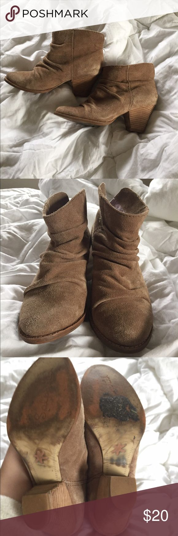 Splendid faux suede tan booties Size 6 1/2 faux suede Splendid booties. Color tan. Worn a number of times, but they still have a lot of life in them Splendid Shoes Ankle Boots & Booties
