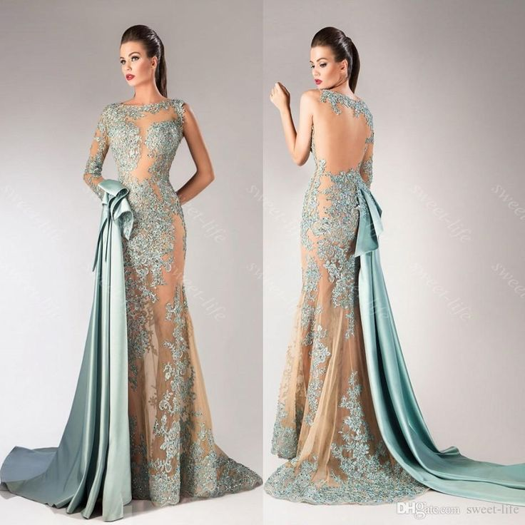 2015 Sexy Mermaid Hanna Toumajean Prom Dresses Illusion Long Sleeve Sheer Neck Applique Evening Gown Formal Pageant Party Queen Dress Custom