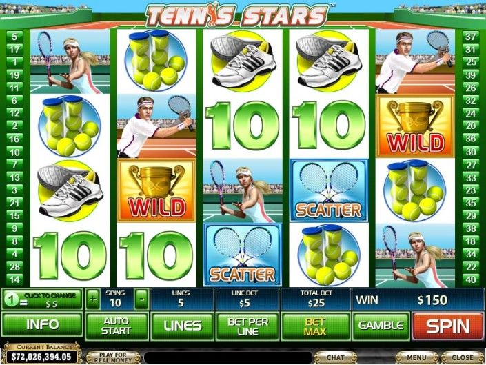 "Play Free Slot Game ""Tennis Stars"" by Newtown Casino! http://newtown-casino.com/"