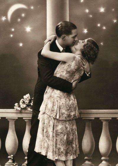 Wednesday's Kiss ~ Balcony Rendezvous!  1920s postcard