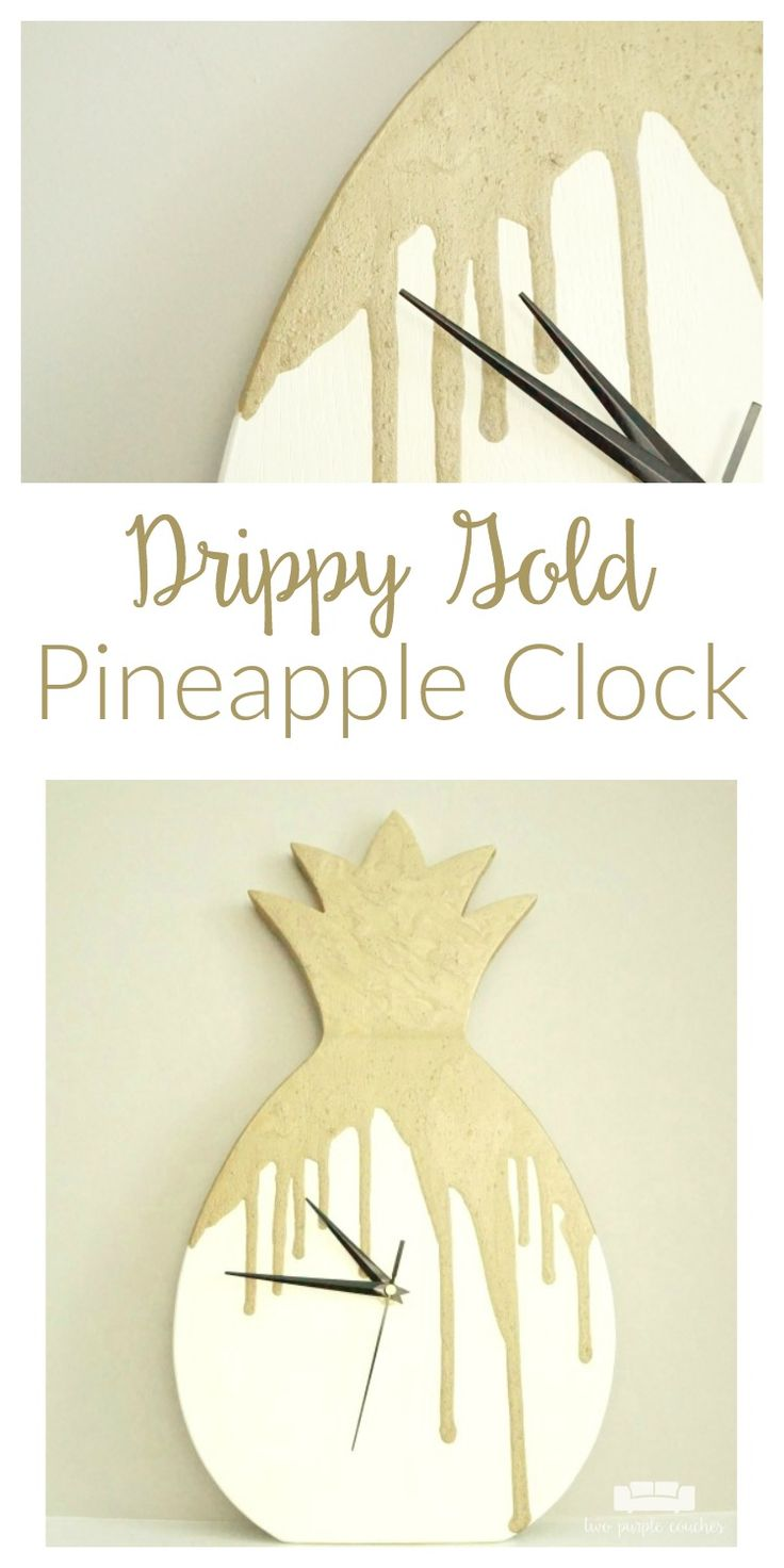 How to turn a thrift store wood tray into a drippy gold pineapple clock. Such a clever way to transform an old wood tray into something unique home decor!