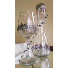Σετ γάμου καράφα και ποτήρι κρασιού ασημένια τριφύλλια  WEDDING SET carafe and a wine glass Silver clovers