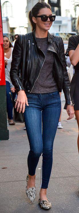 Leather Moto Jacket | Skinny Jeans | Kendall Jenner.
