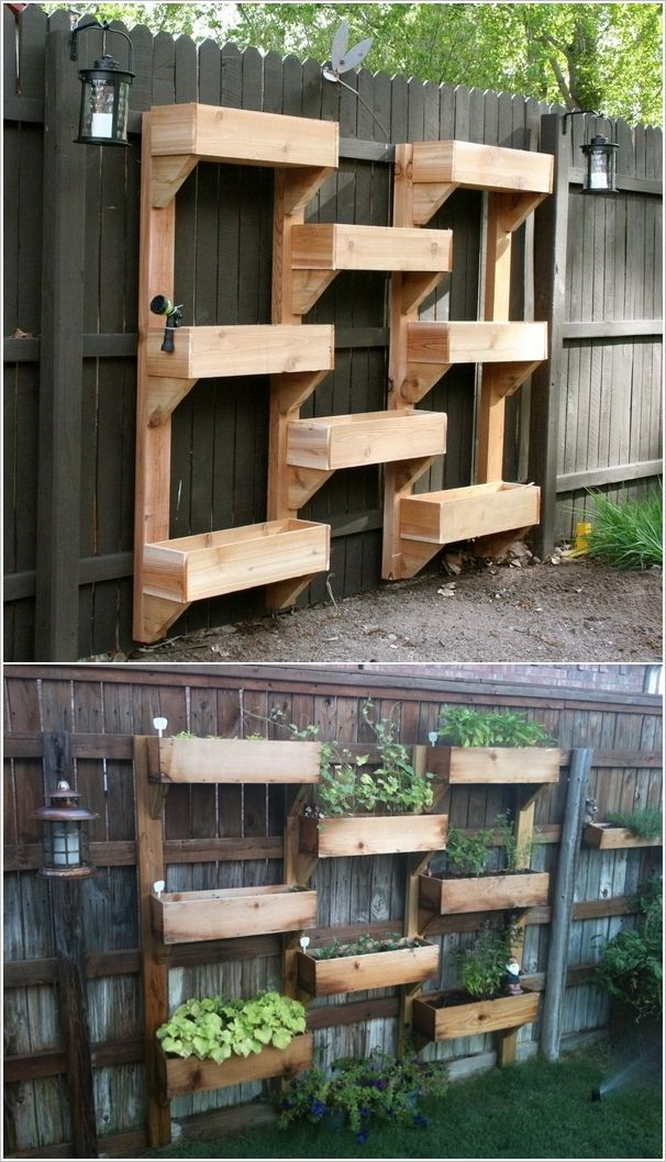 Wooden Boxes Vertical Wall GardenGardens Ideas, Fence, Plants, Gardens Wall, Vertical Gardens, Herbs Gardens, Small Spaces, Yards, Wall Gardens