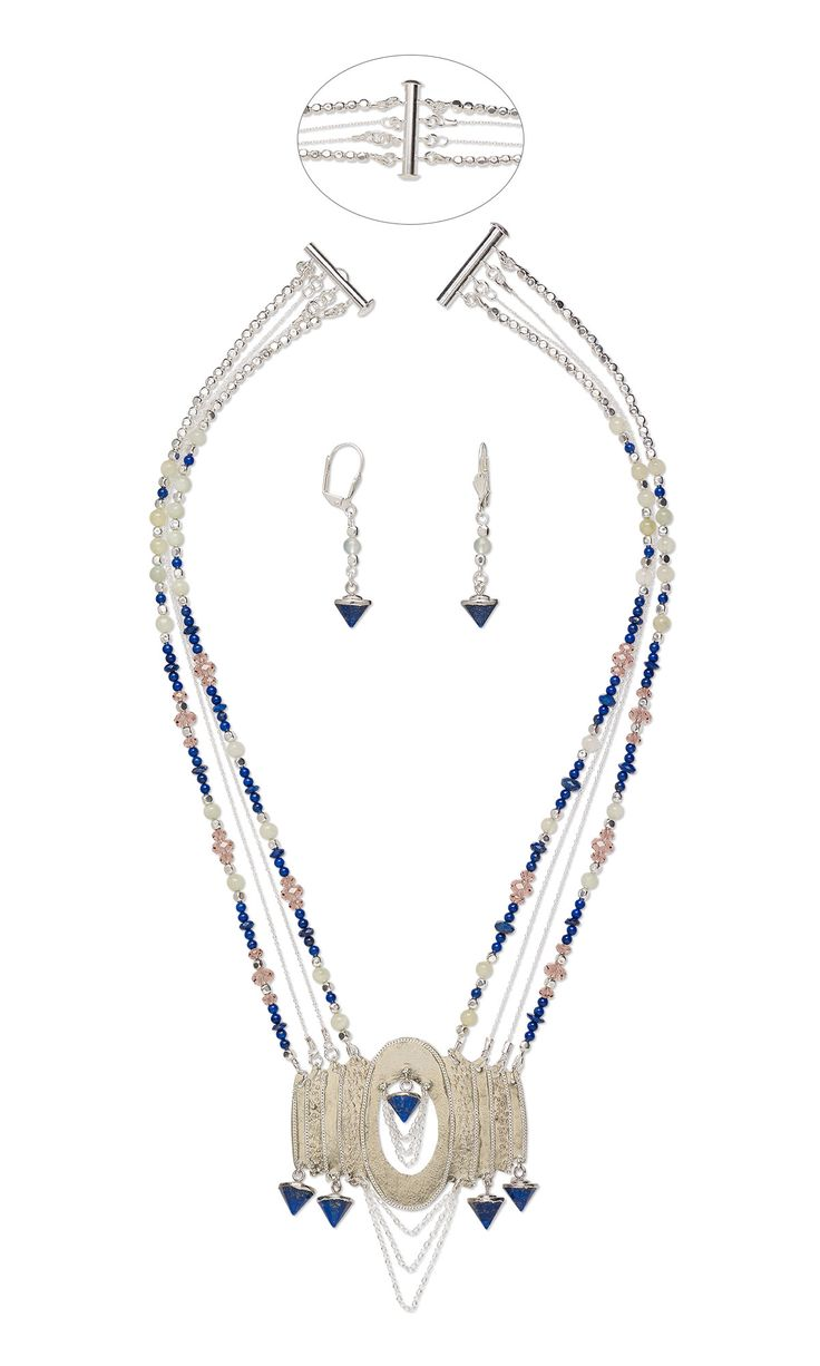 lapis lazuli point drops and sea green new jade bead necklace earrings